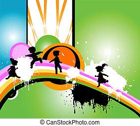 lurar, silhouettes, spring, och, jumpin
