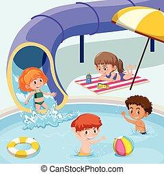 lurar, spelande damm, simning