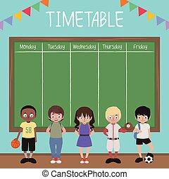 lurar, tidtabell, blackboard, skola