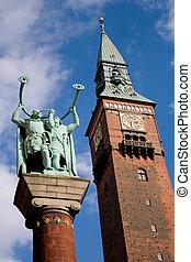 Copenhagen, Denmark - Lure Blowers statue and City Hall ...