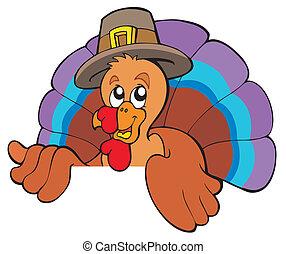 Lurking cartoon turkey in hat