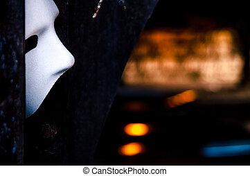 Lurking in the Shadows - Phantom of the Opera Mask in Dark Tunnel