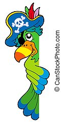 Lurking pirate parrot - isolated illustration.