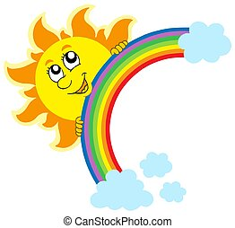 Lurking Sun with rainbow - isolated illustration.