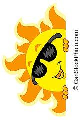 Lurking Sun with sunglasses - isolated illustration.