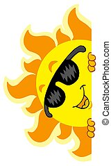 Lurking Sun with sunglasses - isolated illustration.