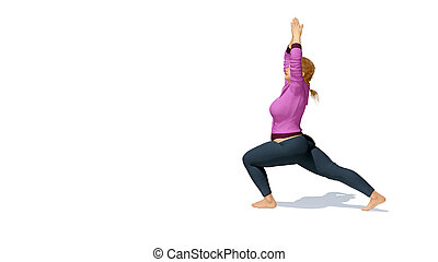 lus size blonde woman in warrior pose yoga