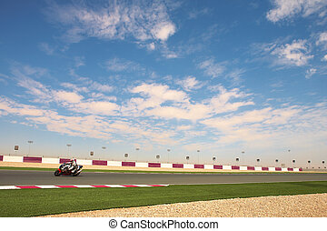 Lusail Racetrack - Section of astro turf and asphalt next to...