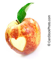 Luscious red apple with heart cutout