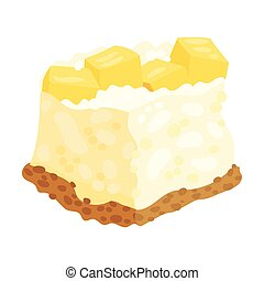 Lush cake with slices of pineapple. Vector illustration on a white background.