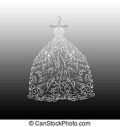 lush dress for the princess, painted with elegant lines with curls, exquisite pattern