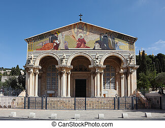 Lush facade of the Church of All Saints in Jerusalem.