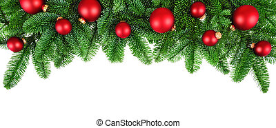 Lush fir twigs and red baubles on white