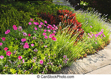 Lush garden at home - Landscaped garden at house with...