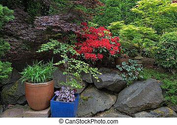 Lush Garden Backyard in Springtime
