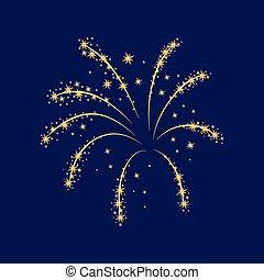Lush gold fireworks on a dark background. Vector illustration.