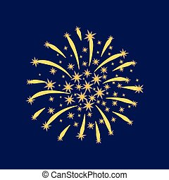 Lush gold fireworks with sparks on a dark background. Vector illustration.