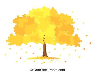 Lush gold tree - Vector illustration of lush gold tree on...