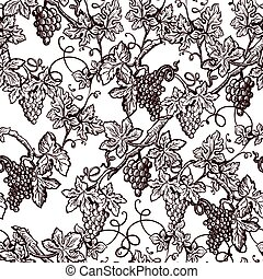 Lush grape bushes black and white seamless pattern