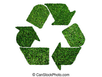 lush green grass recycling symbol, sustainability concept