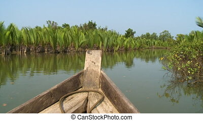 Lush green Nipa palms on Kangy River, Myanmar - Wide...