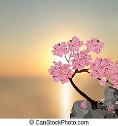 Lush Japanese Sakura. Tree pink cherry on the stone. Against the backdrop of a beautiful sunset. illustration