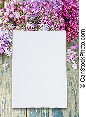 Lush multicolored bunches of lilac and white paper card