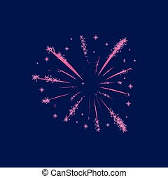 Lush pink fireworks on a dark background. Vector illustration.