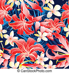 Lush yellow and red tropical seamless pattern .