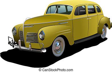 lusso, 1950's, illustrazione, isolato, vettore, coupe, fondo.