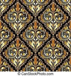lusso, 3d, barocco, damasco, seamless, pattern., ornare, vendemmia, laccio, b