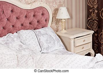 lusso, camera letto, interno, dettaglio