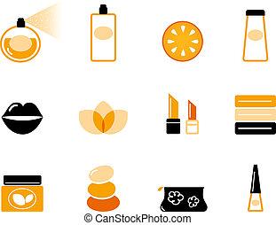 &, lusso, cosmetica, arancia, nero, wellness, (, set, icona, )