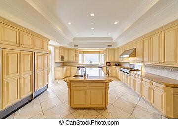lusso, cucina, in, uno, lusso, casa