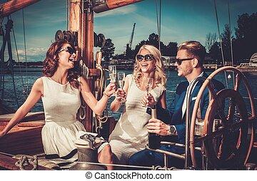 lusso, detenere, amici, yacht, ricco, divertimento, elegante