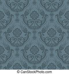 lusso, grigio, floreale, carta da parati