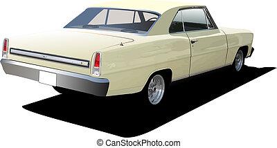 lusso, illustrazione, isolato, vettore, coupe, fondo., 1970's