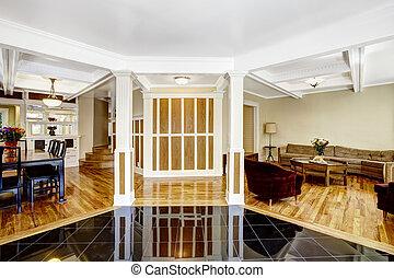 lusso, interior., atrio, con, nero, baluginante, pavimentare pavimento, colonne, e