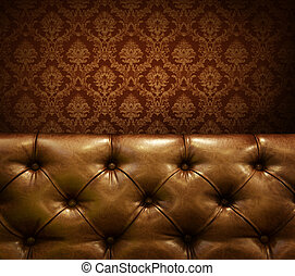 lusso, mobilia, con, copyspace., genuino, cuoio