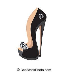 lusso, scarpe, su, uno, alto tallone