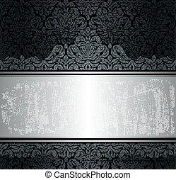 lusso, sfondo nero, argento, &