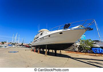lusso, yacht, beached, per, annuale, servizio, e,...
