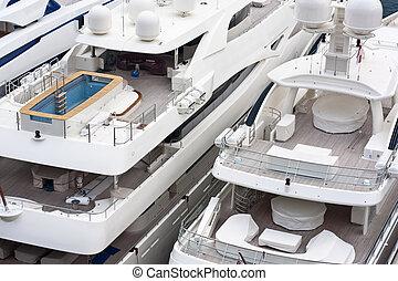 lussuoso, triplo, yacht, ponte