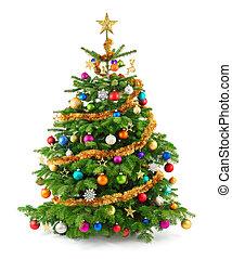 lussureggiante, albero natale, con, colorito, ornamenti