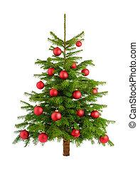 lussureggiante, albero natale, con, rosso, baubles