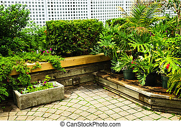 lussureggiante, verde, giardino