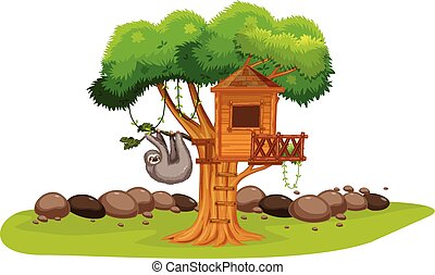 lustaság, fa épület