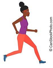 lustig, jogging., frau