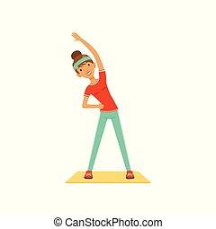 lustig, junge frau, zeichen, trainieren, m�dchen, klappend, in, der, fitneßklub, oder, turnhalle, bunte, vektor, abbildung