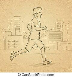 lustig, mann, jogging.